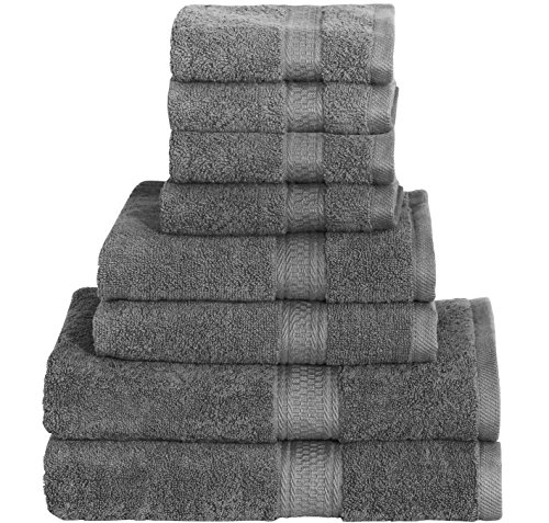 Best Seller in Bath Towel Sheets 8 Piece Towel Set (Grey), 2 Bath Towels, 2 Hand Towels & 4 Washcloths 100% Cotton Bath Towel Bath Sheet Hand Towel