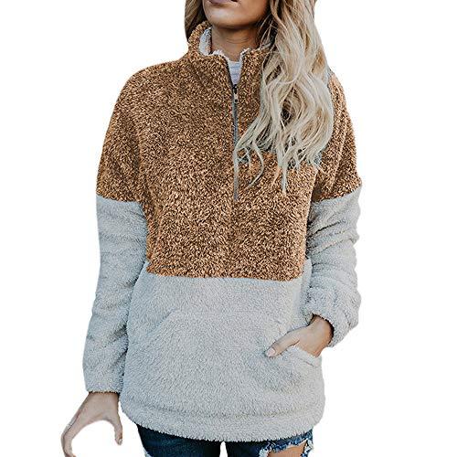 Kauneus  Women's Casual Fall Long Sleeve Zipper Pullover Kangoroo Fuzzy Sherpa Fleece Sweatshirts Tops Outwear Pockets Brown ()
