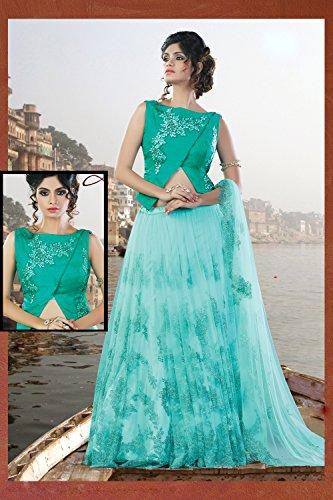 Da Facioun Womens Turquoise Color Striking Lehenga Choli With Lace Work 80156