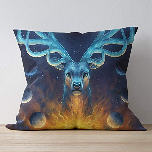 SUNH0ME Zipper Square Throw Pillowcase, Polyester Home Decorative Throw Cushion Case, Space Galaxy Elk Pillow Protectors, Protects from Dirt, Dust Mites - 24