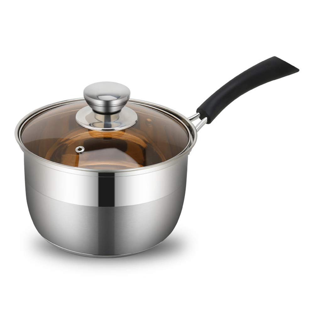 XMM Stainless Steel Saucepan, Milk Saucepan Non Stick304 Stainless Steel Double Bottom Thickened Single Handle Small Milk Pot Induction Cooker Universal (Silver),20cm