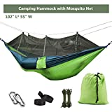 Ufanore Camping Hammock with Mosquito/ Bug Net, Lightweight Nylon Portable Hammock Includes Nylon Straps and Steel Carabiners , Easy Assembly Parachute Hammock for Camping, Backpacking, Survival, Travel, Beach, Yard and More