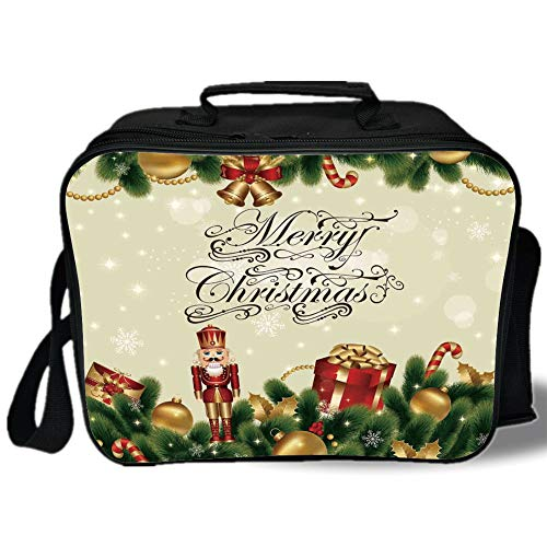 (Christmas 3D Print Insulated Lunch Bag,Noel Ornaments with Birch Branch Cute Ribbons Bells Candy Canes Art Image,for Work/School/Picnic,Golden Red Green)