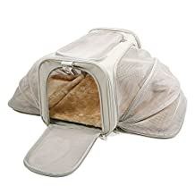 """Jet Sitter Luxury Expandable Pet Carrier V2 - Airline Approved, Improved Durable Mesh Netting, Soft Sided Top Load for Dogs or Cats, TSA airplane in cabin under seat (18""""x11""""x11"""", Khaki)"""
