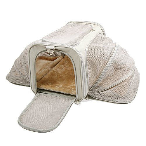 Jet Sitter Luxury Expandable Pet Carrier V2 - Airline Approved, Improved Durable Mesh Netting, Soft Sided Top Load for Dogs or Cats, TSA airplane in cabin under seat (18