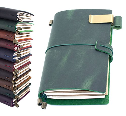 """Leather Journal, Handmade Vintage Refillable Travel Diary Writing Notebook Gift for Men & Women 8.7""""x4.7"""" Green"""
