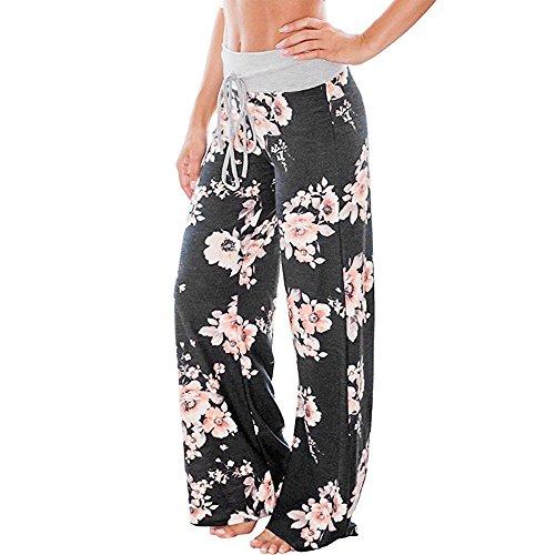 Women's Wide Leg Yoga Pant,Ladies Floral Printed Loose Striaght Trousers Drawstring Stretch Yoga Pants