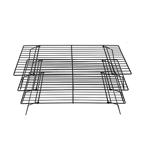 Stackable 3-Tier Cooling Rack-100% Stainless Steel Cooling Rack,for Cookies Cooling,Cakes and Bread Cooling and More(Black).