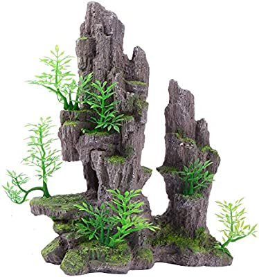 Saim Aquarium Mountain View Stone Ornament Tree Rock Cave Fish Tank Decoration Amazon Com Au Pet Supplies