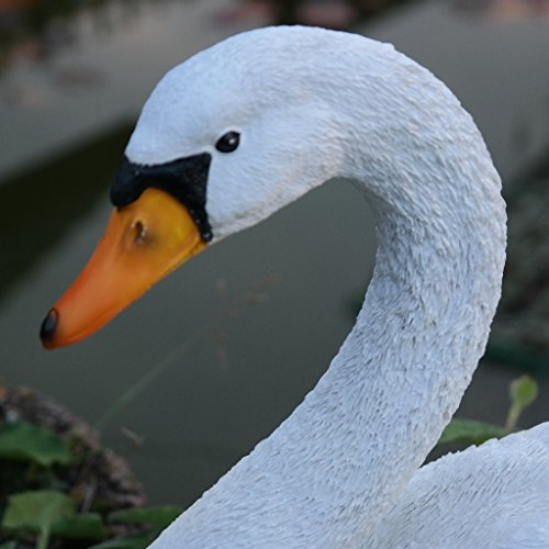 Dekofigur Schwan weiß Ente Vogel Erpel Tierfigur Garten Teich Wild