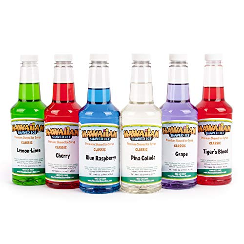 - Hawaiian Shaved Ice 6 Flavor Pint Pack | Includes 6 Snow Cone Syrups [16oz Each] - Cherry, Grape, Blue Raspberry, Tiger's Blood, Lemon-Lime, & Pina Colada