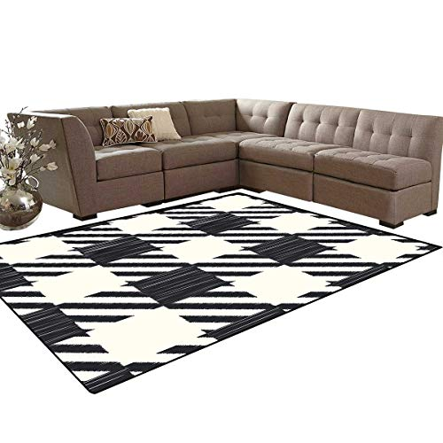 (Checkered Anti-Skid Area Rugs Diagonal Stripes and Squares Monochrome Sketchy Geometric Grid Revival Tile Customize Door mats for Home Mat 6'x8' Black and)