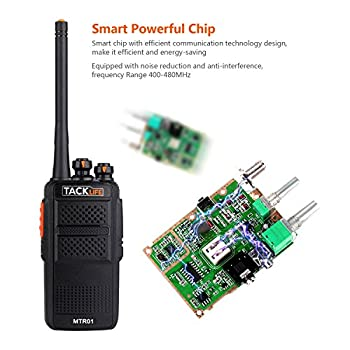 Tacklife Mtr01 Advanced Two-way Radio With Rechargeable 1300mah Li-ion Battery Uhf 400-470mhz Transceiver Earphone Long Working Distance 16 Channels Walkie Talkie   2 Pcs 2