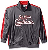 MLB St. Louis Cardinals Men's Team Reflective Tricot Track Jacket, 4X/Tall, Charcoal/Red