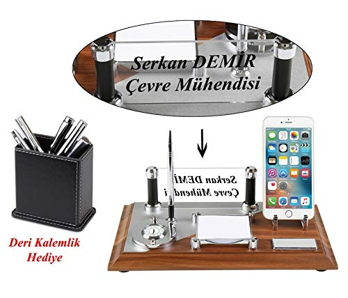 (W:12.59'' L: 7.87'' Personalized MDF Wood Business Office All in one Desk (Table) Pad Organizer with Phone Stand, Engraved Glass Name Plate Chiefs Desk Card Holder Pen Set,Free Engraving)
