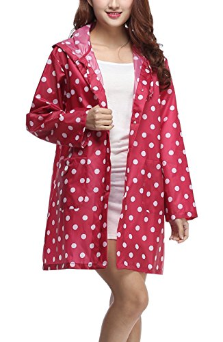 Polka Dot Raincoat - Gihuo Women's Packable Cute Polka Dot Waterproof Raincoat Hooded Rain Jacket (One Size, Rose Red)