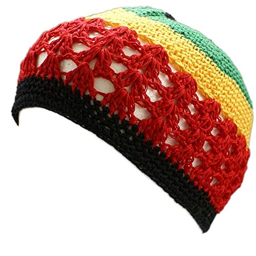 - Shoe String King SSK Knit Kufi Hat - Koopy Cap - Crochet Beanie (Rasta - Red, Yellow, Green)