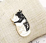 Black and White cat Licking Brooch Forest Banana cat pin (3)