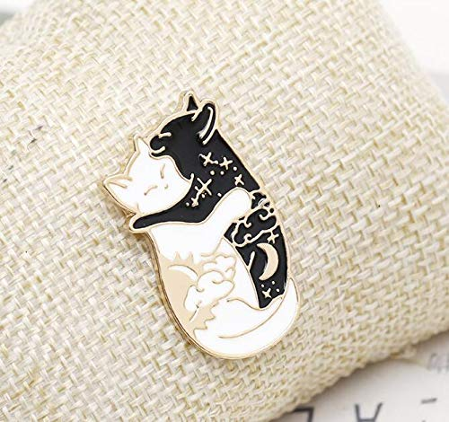 Black and White cat Licking Brooch Forest Banana cat pin (3) by Angelstore Brooch (Image #1)