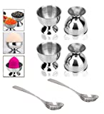 Fashionclubs Multi-purpose Stainless Steel Boiled Egg Cup Holder, Eggs Stand Display Storage Cups and Spoons Set,Makeup Blender Power Puff Sponge Holder Storage Support,4pcs/set (Style One)