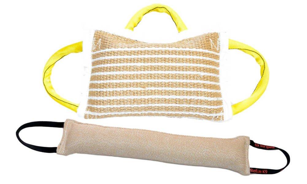 Bundle 1 - 3 Handle Jute Bite Pillow Soft & 1 - 4'' X 24'' 2 Handle Jute Tug Toy - Redline K9