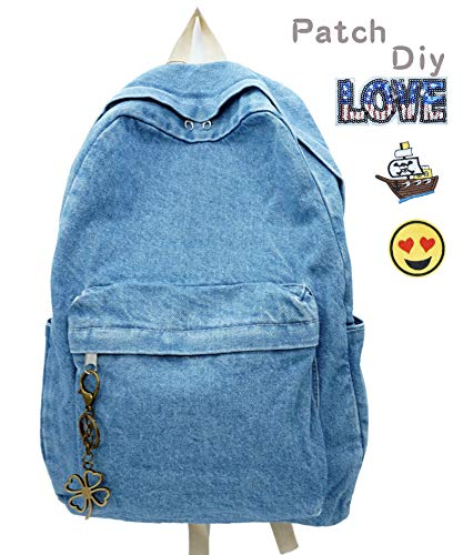 Yunzh Premium Denim Casual Backpacks,Classic Retro Travel Daypack,Lightweight Jeans Bookbags School Bag for Travel/College/Business ()