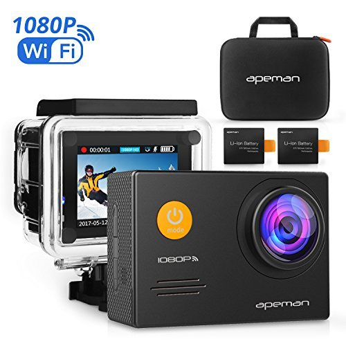 APEMAN Action Camera WiFi 14MP 1080P FHD Sports Camera with 2.0 Inch LCD Display & 170°Ultra Wide-Angle Lens - 2...