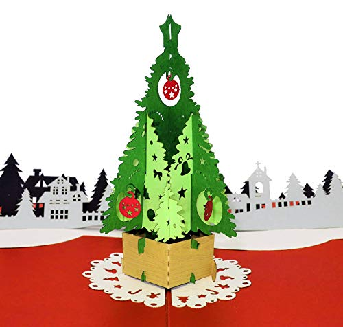 Paper Love Christmas Tree Card, Pop Up Christmas Cards, 3D Xmas Card, Holiday Popup Card
