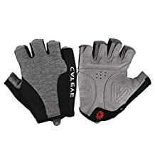 CATEYE Men's Cycling Gloves Half Finger Touch Screen Fast-drying Black Gray for Summer