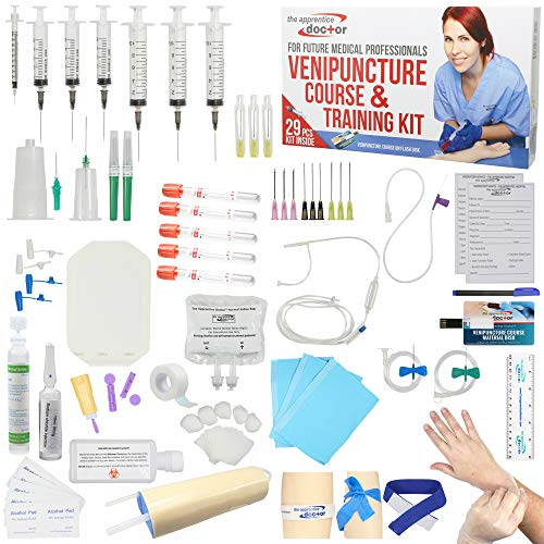 IV Practice Kit with Phlebotomy/Venipuncture How-to Guide Designed by Medical Professionals for Students to Practice & Perfect IV, Phlebotomy, Venipuncture Related Skills - The Apprentice Doctor