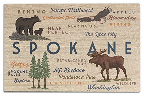 Spokane, Washington - Typography and Icons (10x15 Wood Wall Sign, Wall Decor Ready to (Spokane Washington Usa Framed)