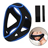 EMPHY Upgraded Anti-Snoring Chin Strap with Extra Velcra Strap for Men & Women Doctor Recommended Sleep Aid Vented Hole Design for Large Head Size No Smell Air Snore Strap (Blue & Black)