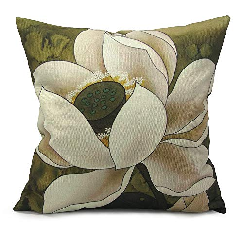 Lotus Cushion Cover - Monkeysell Retro Lotus Leaf Butterfly Flowers Pattern Cotton Linen Throw Pillow Case Cushion Cover Home Sofa Decorative 18 X 18 inch (S042B2)