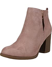 Soda Womens Chunky Heel Caged Cut-out Ankle Booties MVE Shoes,