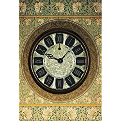 Baocicco Old Clock on Retro Floral Pattern Wall Backdrop 8x12ft Photography Background Clock Background Vintage Wallpaper Ancient Wall Tour Tourism Luxury Clock Old Style