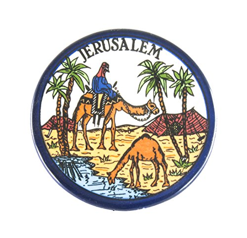 Decorative plate pottery wall decor armenian ceramic Israel old Jerusalem hand painted Camels image and Desert View gift from holy land by - Pottery Camel