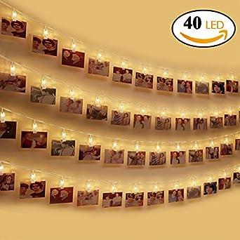 Amteker LED Foto Clip Lichterketten, 100 LED 10M Bilderrahmen Dekor Für  Innen, Haus, Weihnachten, Hochzeit, ...