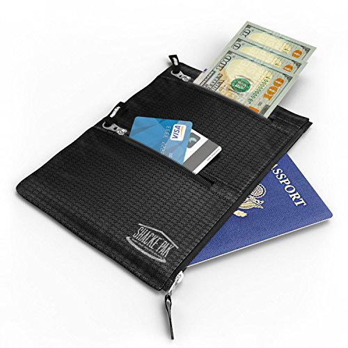 Shacke Hidden Travel Belt Wallet w/RFID Blocker (Black with Black Strap)