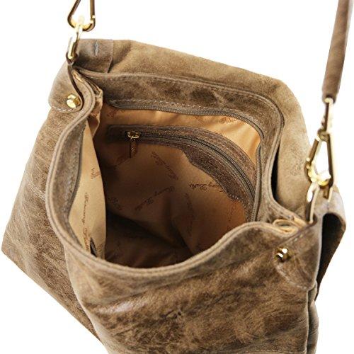 Tuscany Leather - TL Bag - Bolso a mano en piel efecto antiguo - TL141637 (Azul oscuro) Dark Taupe