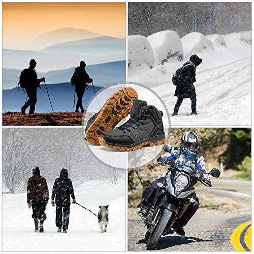 WellUp Men's Snow Boots-Fur-Lined Shoes Non-Slip Outdoor Motorcycle Backpacking Trekking Trails Hiking Sneakers