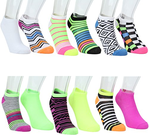 Mix Match Clothes ((20% OFF) - Pack of 6 - Mix Not Match Women's Colorful Patterned No Show Socks Size 5-18)