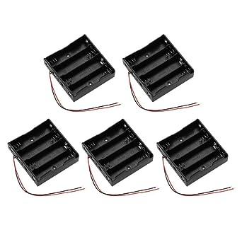 18650 Caja de batería, caja de almacenamiento de batería Caja de soporte de batería de 5 piezas negra con cable para 4 x 18650 baterías: Amazon.es: Industria, empresas y ciencia
