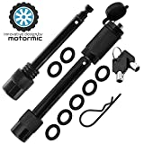 """motormic Trailer Hitch Lock Pin Set - 5/8'' and 1/2'' Extra Long Black Pins with One Locking System - 1 Safety Clip, 10 Anti Rattle O-Rings – Tow receivers 1.25"""", 2"""" and 2.5 inch (Class I,II,III,IV,V)"""