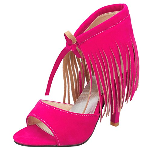 High Fashion Rose Toe Women TAOFFEN Sandals with Fringe Up Heels Open Red Lace 5RYFPWF