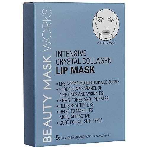 Beauty Mask Works Intensive Crystal Collagen Lip Mask, Reduces Appearance of Fine Lines and Wrinkles, Lips Appear More Plump and Supple, for All Skin Types, 5-Count