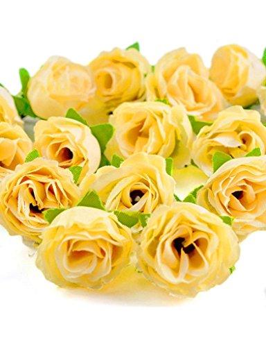 Zacoo Silk Small tea bud silk flower heads 50pcs. Silk Light Yellow 30mm (Rose Small Tea)