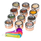 Nellam Spice Magnetic Storage Jars for Spices - 12pcs Stainless Steel and Copper - Bronze Gold Colored Kitchen Containers with Clear Top - Organizer Tins Kit include a Measuring Spoon Set