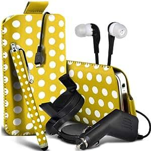 Nokia Lumia 710 Protección Premium Polka PU ficha de extracción Slip Cord En cubierta de bolsa Pocket Skin rápida Con Large Matching Stylus Pen, Jack de 3,5 mm auriculares auriculares auriculares, cargador de coche USB Micro 12v y 360 Sostenedor giratorio del parabrisas del coche cuna amarilla y blanca por Spyrox