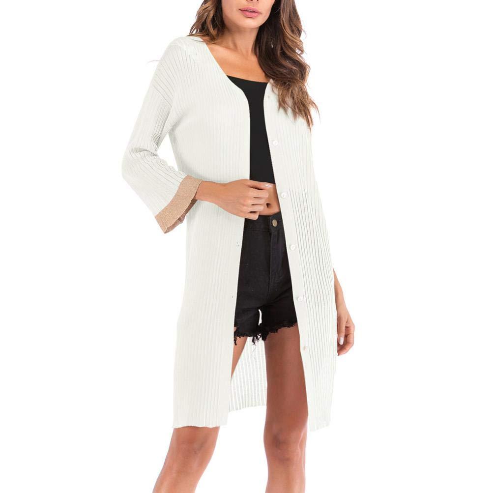 Pandaie Womens Jacket,Women's Loose V-Neckline Cardigan Fashion Solid Button Long Sleeve Coat