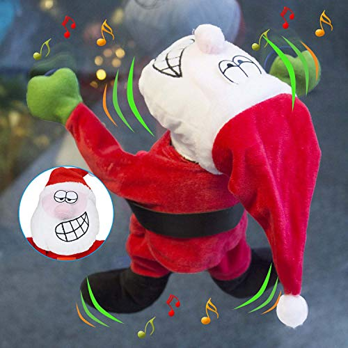 JOYIN Window Cling Animated Dancing Moving Santa Claus with Music 1ft Tall for Christmas Decoration, Stocking Stuffers…